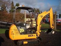 jcb mini digger excavator ideal for ponds patios footings trenches