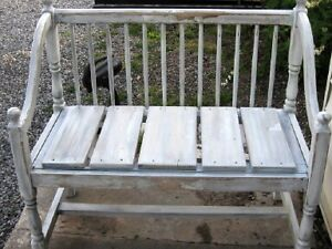 painted antique wooden bench