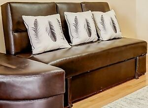 BROWN COLOR- PU LEATHER- KLIK KLAK SOFA BED- WITH STORAGE, FOLDI