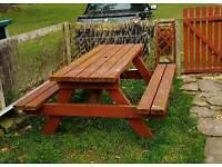 Heavy solid garden table & bench