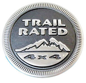 jeep trail rated 4x4 badge metal emblem wrangler grand cherokee liberty ebay. Black Bedroom Furniture Sets. Home Design Ideas