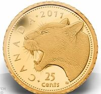 Gold Cougar 1/2 Gram Coin (99.99% Pure, 25 cent Face Value )