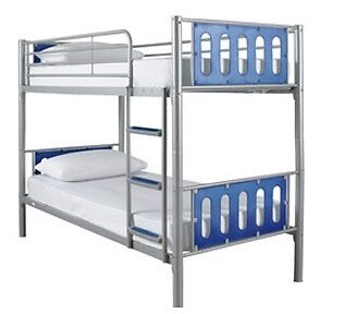 Kidspace Cyber Metal Bunk Bed Frames In Silver And Blue With Four