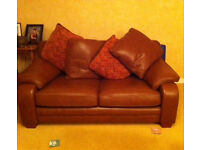 "Beautiful hand made Tan leather 2 seater sofa. 65"" Long, 37"" Deep, 32"" High37"
