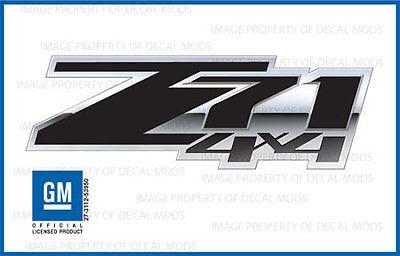 set of 2: 2007 - 2013 Chevy Silverado Z71 4x4 Decals - FSBLK 3D - Black Stickers