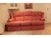 Red 3 seater sofa - excellent condition with fire labels and very comfy