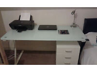 Desk home office Glass top £40 neg moving home Brilliant student or home business desk Excel cond