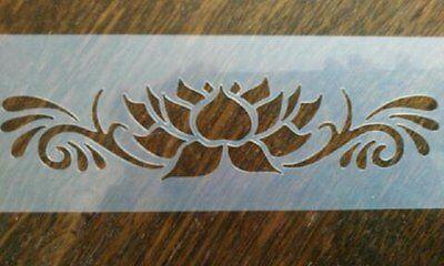 Lotus Flower & Flourish Reusable Mylar Stencil Airbrush Art Craft Wall Stencil