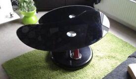 Black Coffee Table, Swivel, High Gloss Finish