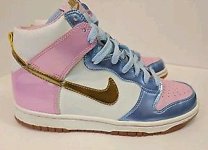new concept a6f1b c18a4 Nike Dunk High GS - High Top, pink gold blue and white, womens s