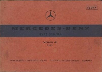 MERCEDES BENZ W111 220 SEb SALOON ORIG.1964-65 FACTORY PICTORIAL PARTS CATALOGUE