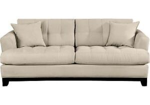 Cindy Crawford Collection Beige Microfiber Sofa