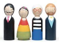 Hand Made Wooden Peg Dolls - Modern Artists - Warhol, Dali, Kahlo, Van Gogh