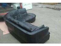 Dfs black leather corner sofa . Can deliver