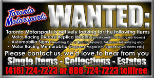 WANTED: Diecast Models & Auto Racing Memorabilia