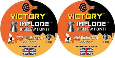 VICTORY IMPLODE HOLLOW POINT Pellets Airgun Air Rifle .177 .22 QTY 50 - 500