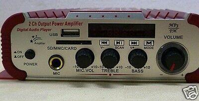Mini Amplificateur Audio Voiture, Moto USB SD FM stéréo 3 en 1 Kentiger HY600