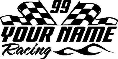 Name & number racing checkered flag & flame custom vinyl window sticker - Checkered Flag Racing