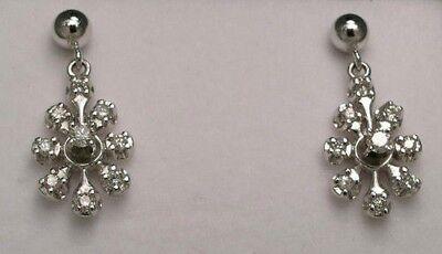 [1559] 14kt White Solid Gold Pierced Post 20mm long Diamond drops