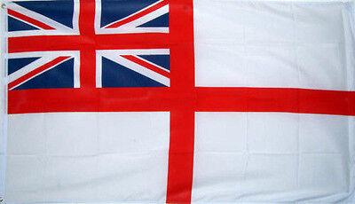 5' x 3' White Ensign British Royal Navy Flag Naval Union Jack Banner