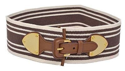 RALPH LAUREN Lauren Womens Striped Wide Stretch Belt Brown Med (Brown Striped Belt)