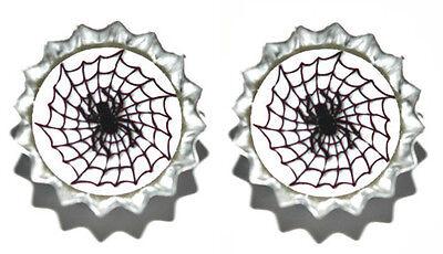 SPIDER WEB HALLOWEEN MINI BOTTLE CAP CUFF LINKS (CAP039f) - Halloween Links