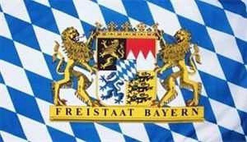 Fahne Flagge Bayern Freistaat mit Löwen Staatswappen 90x150 cm Hissfahne Wappen
