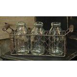 PRIMITIVE  HOME DECOR ~Basket w/3 Bottles~ COUNTRY ~ KITCHEN