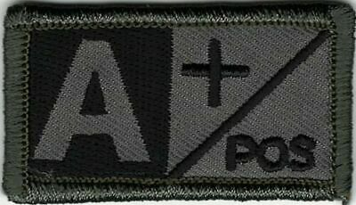ACU Grey Gray Black Blood Type A+ Positive Patch VELCRO® BRAND Hook Fastener Com