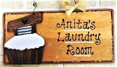 (Personalize LAUNDRY ROOM Name SIGN Scrub Tub Wall Art Hanger Plaque Rustic Decor)