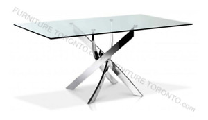 Modern glass kitchen table + two Z-chairs