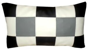 coussin rectangulaire simili cuir damier noir blanc gris 30x50cm ebay. Black Bedroom Furniture Sets. Home Design Ideas