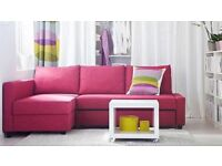 RARE IKEA FRIHETEN PINK CORNER SOFA BED WITH STORAGE 1YR OLD GOOD CONDITION