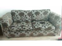 brown couch and brown leather recliner chair