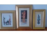 Three Gold Coloured Framed 1920's Fashion Pictures