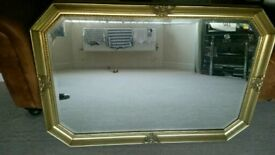 Ornate gold framed bevelled mirror £50