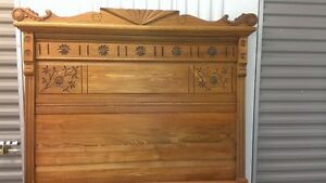 2 antique solid oak double beds.