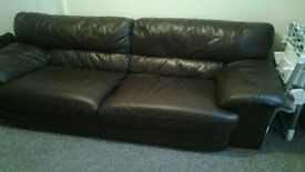 Brown leather sofa , 2 seater and 1 seater
