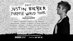 2 x Justin Bieber Sydney HARDCOPY A-Reserve Floor Tickets Sydney City Inner Sydney Preview