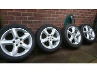 """Vauxhall 5x110 17"""" alloy wheels with as new tyres Astra Vectra Signum Zafira Saab"""