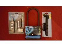 BRAND NEW Cycling Accessories 30 Piece Tool & Repair Kit + D Lock + Mini Pump.