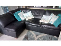 corner group bed settee with storage. Ikea Alonza black leather look. Reasonable condition