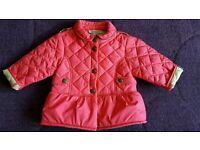 Burberry baby girl 6 month padded pink coat
