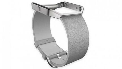 Genuine Fitbit Blaze Leather Band with stainless Steel Frame-Mist Grey