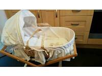 MOSES BASKET WITH STAND. MAMAS & PAPAS. UNISEX. IMMACULATE.