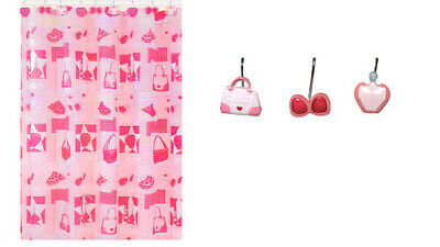 Cute Shower Curtain (Cute Pink Shower Curtain for Girls Diva Girly Glam Bathroom Decor with Hook)