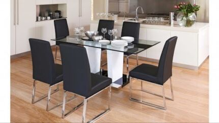 Glass top dining table with 6 chairs Quakers Hill Blacktown Area Preview