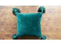 Green velvet cushion, duck feather and down insert
