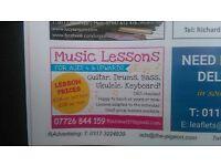 Drums, Guitar, Bass, Ukulele, Keyboard Lessons