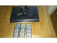 Sky +HD box with 3 remotes and 2 tv link